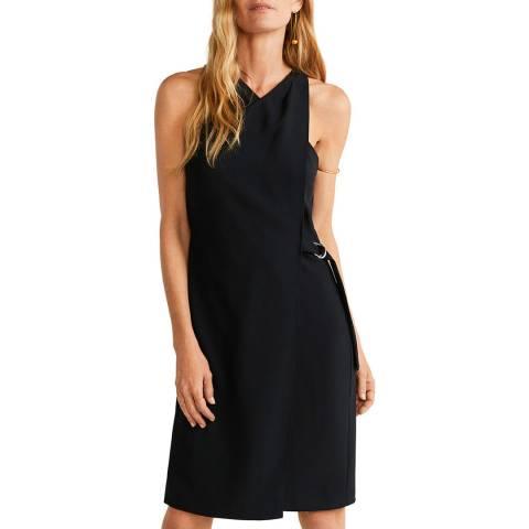 Mango Black Side Buckle Dress