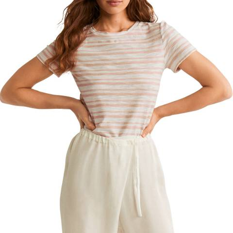 Mango Pink Striped Cotton T-Shirt
