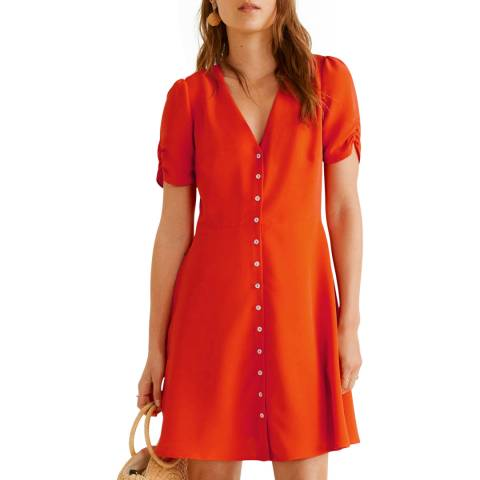 Mango Coral Red Short Buttoned Dress