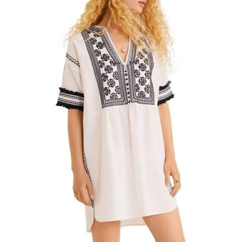 Mango Ecru Embroidered Short Dress