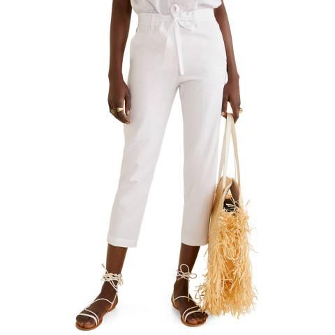 Mango White Straight Linen-Blend Trousers