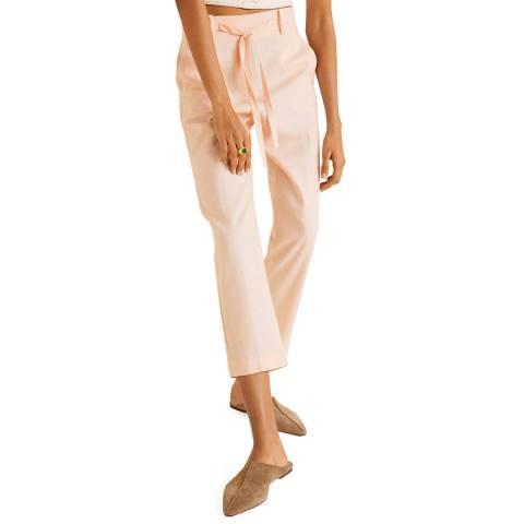 Mango Salmon Straight Linen-Blend Trousers