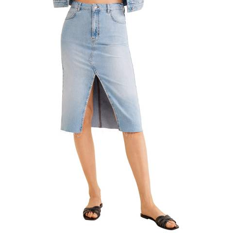 Mango Blue Slit Denim Skirt