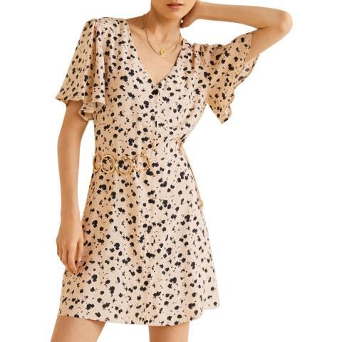 Mango Off White Printed Flared Dress