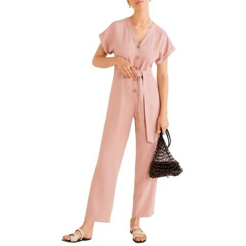 Mango Pink Buttoned Long Jumpsuit