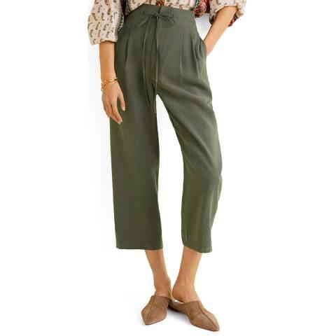 Mango Khaki Soft Straight Trousers
