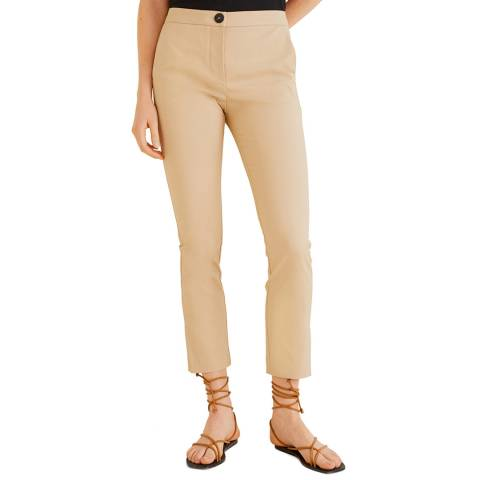 Mango Beige Straight Cotton Trousers