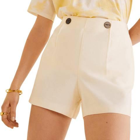 Mango Cream Buttoned High-Waist Shorts