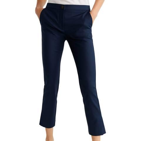 Mango Dark Navy Straight Cotton Trousers