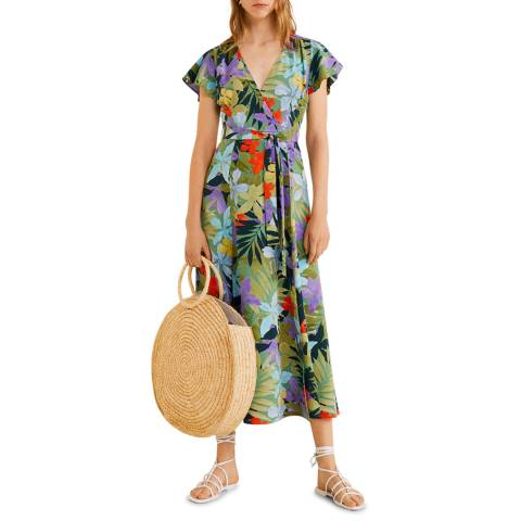 Mango Green Crossover Tropical Dress