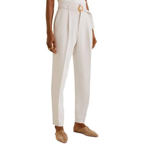 Mango Ice Grey Belt Straight-Fit Trousers