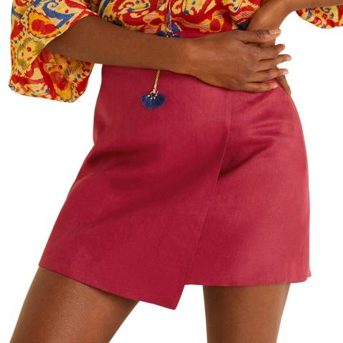 Mango Red Linen-Blend Wrap Skirt