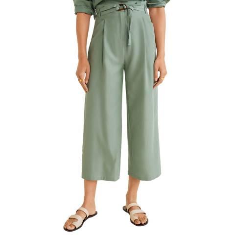 Mango Mint Green Belt Straight-Fit Trousers