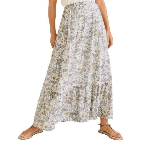 Mango Off White Printed Modal Skirt