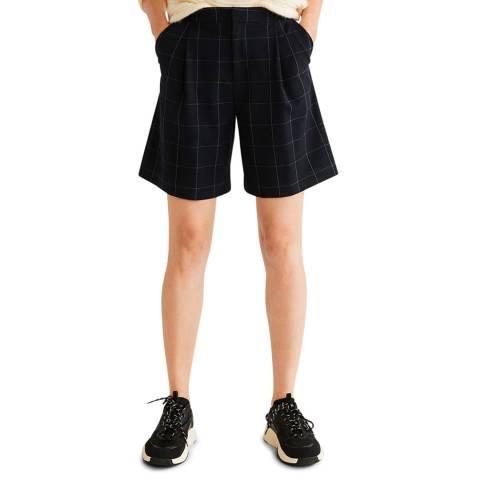 Mango Dark Navy Check Bermuda Shorts