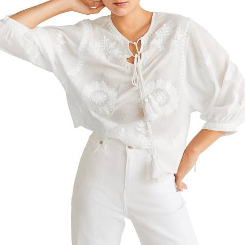 Mango Off White Embroidered Cord Blouse