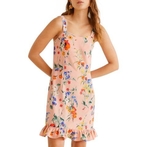 Mango Pink Short Ruffled Dress