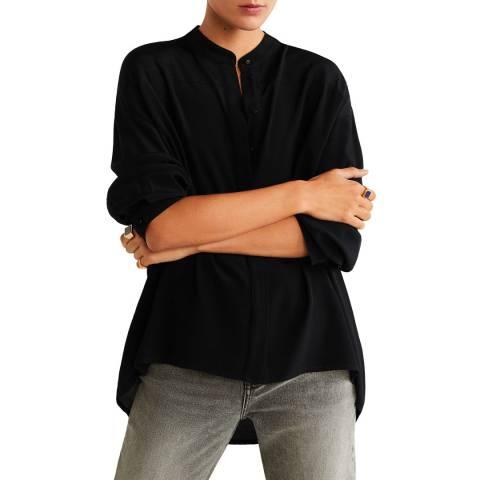 Mango Black Mao Collar Shirt