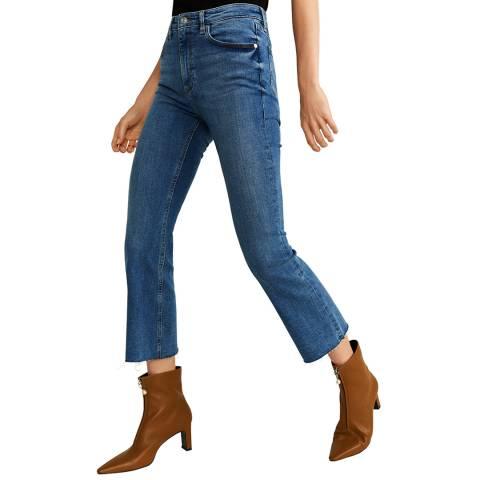 Mango Medium Blue Crop Flared Jeans