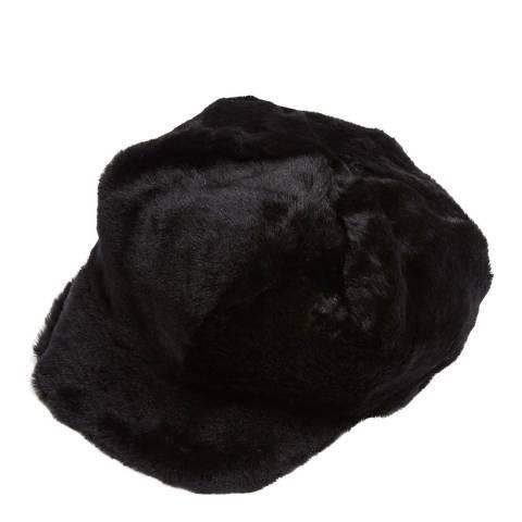 Laycuna London Luxury Black Sheepskin Baker Boy Hat