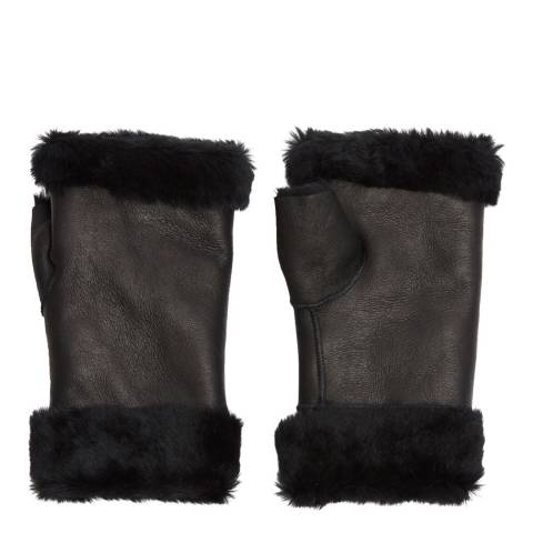 Laycuna London Luxury Black Sheepskin Fingerless Mittens