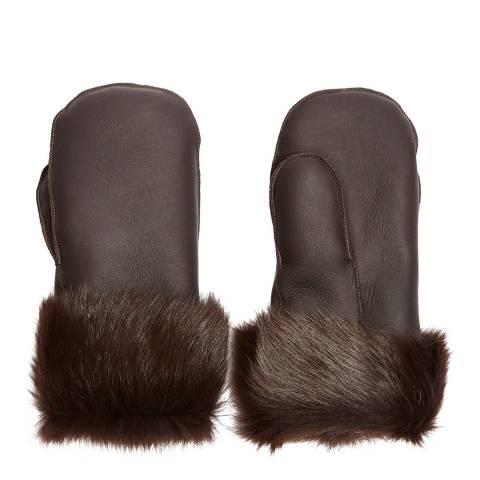 Laycuna London Luxury Brown Sheepskin Mittens