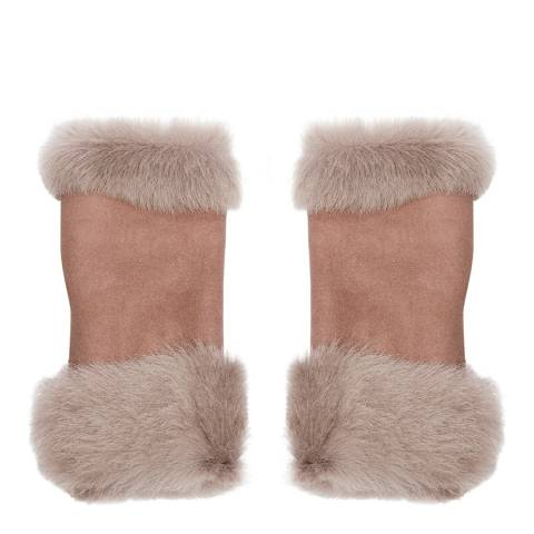 Laycuna London Luxury Brown Sheepskin Fingerless Mittens