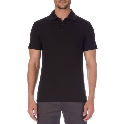 Reiss Black Charlton Ribbed Polo Shirt