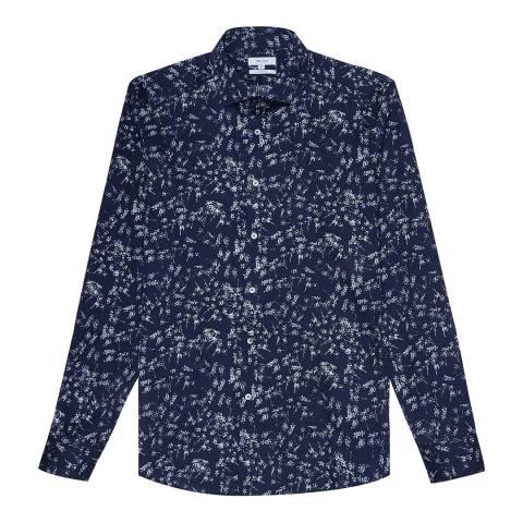 Reiss Navy Stafford Floral Cotton Shirt