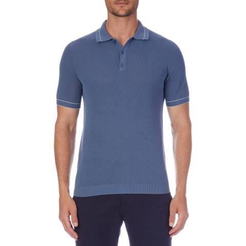 Reiss Blue Dallas Cotton Knit Polo Shirt