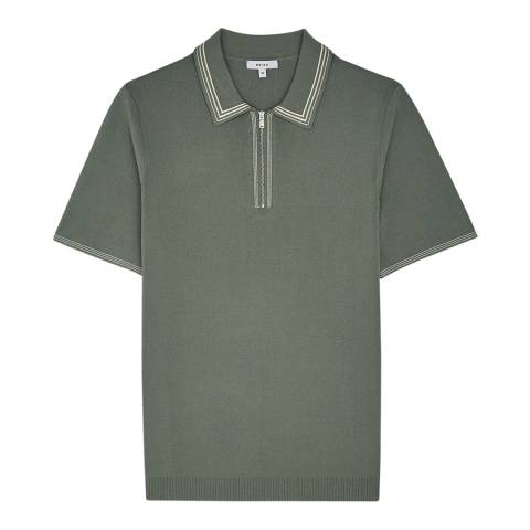 Reiss Light Green Stetson Zip Polo Shirt