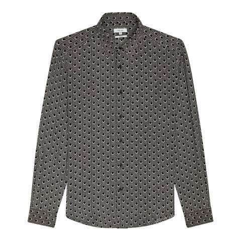 Reiss Black/White Brass Diamond Print Shirt