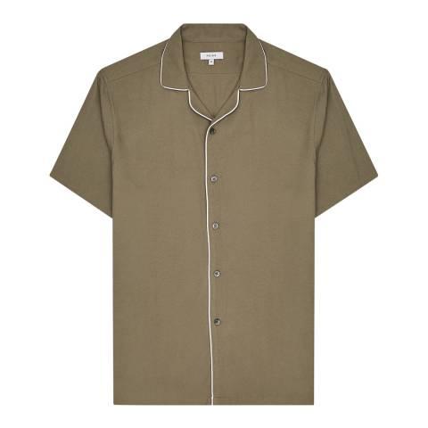 Reiss Khaki Ferdinando Piped Shirt