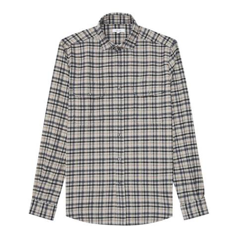 Reiss Grey Tucci Check Regular Fit Shirt
