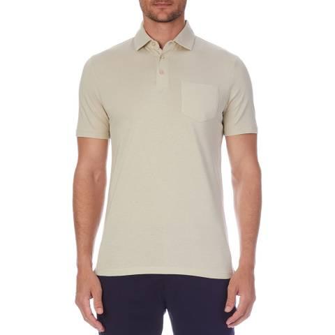 Reiss Beige Ethan Cotton Polo Shirt