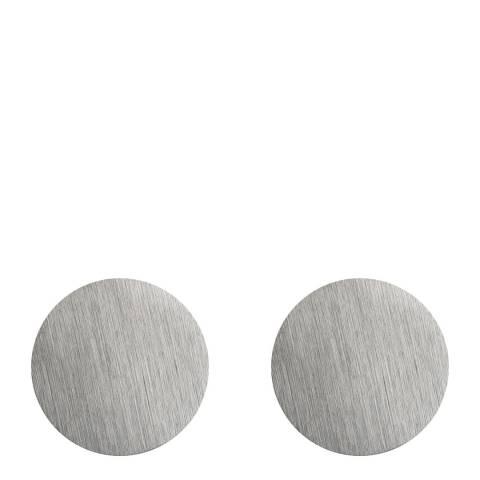 Monomen Men's Silver Minimal Round Cufflinks