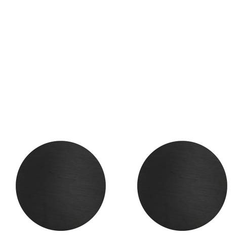 Monomen Men's Black Minimal Round Cufflinks