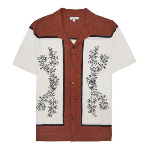Reiss Copper Bradie Embroidered Shirt