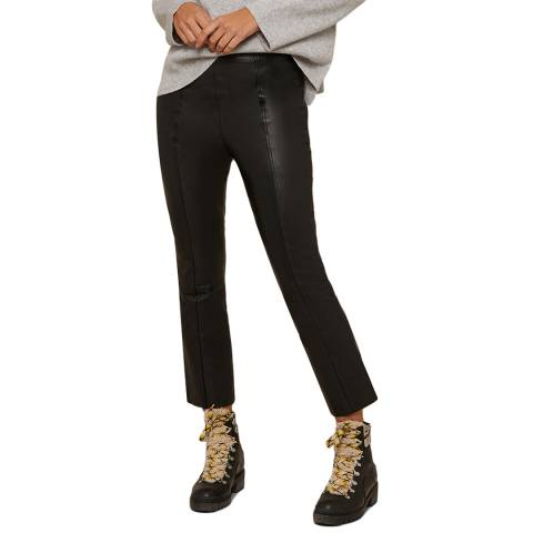 N°· Eleven Black Leather Cropped Kick Flare Trouser