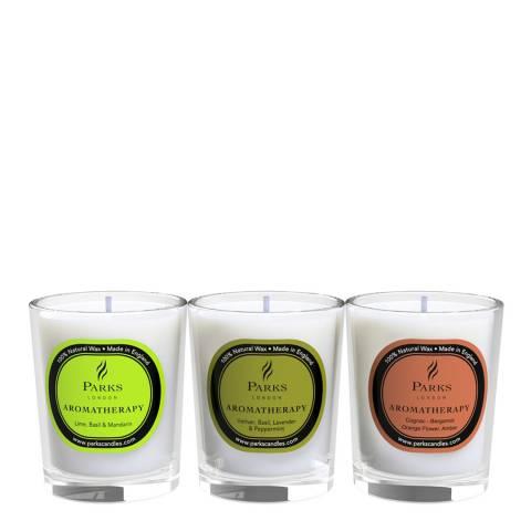 Parks London Gift set 3x60g Lime, Basil & Mandarin; Vetiver, Basil, Lavender & Peppermint; Cognac