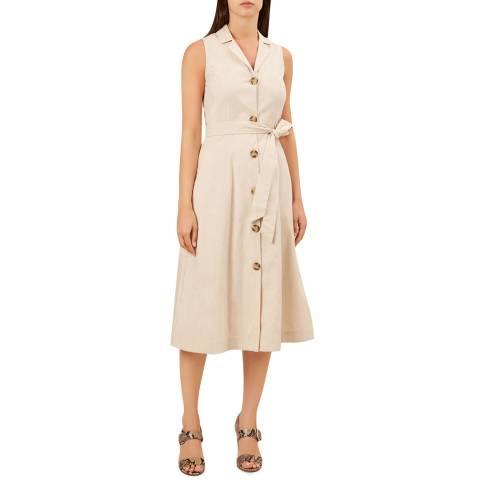 Hobbs London Beige Delphina Linen Blend Dress