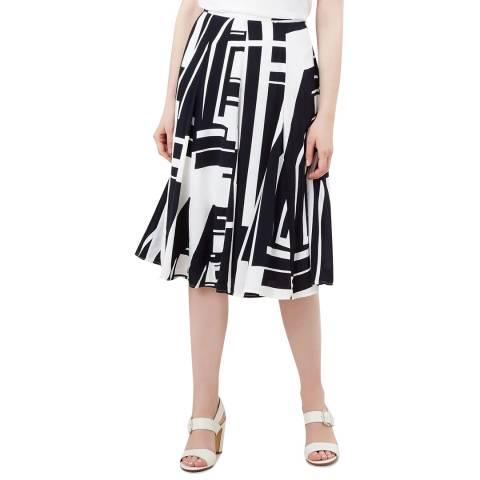 Hobbs London Navy Print Tahlia Skirt