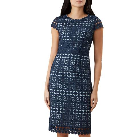 Hobbs London Navy Mabelle Lace Dress