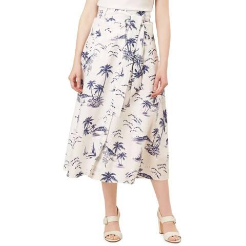 Hobbs London Ivory Print Floretta Linen Skirt
