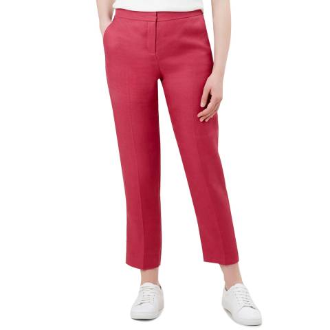 Hobbs London Pink Anthea Linen Trousers