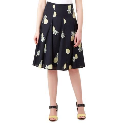 Hobbs London Navy Pineapple Melina Skirt