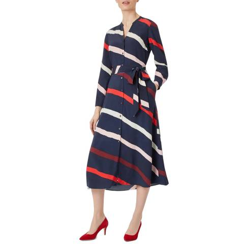 Hobbs London Navy Stripe Petite Ginnie Dress