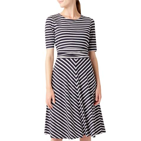 Hobbs London Navy Stripe Bayview Dress