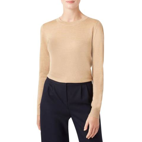 Hobbs London Beige Penny Wool Jumper