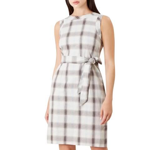 Hobbs London Beige Check Amalfi Linen Blend Dress